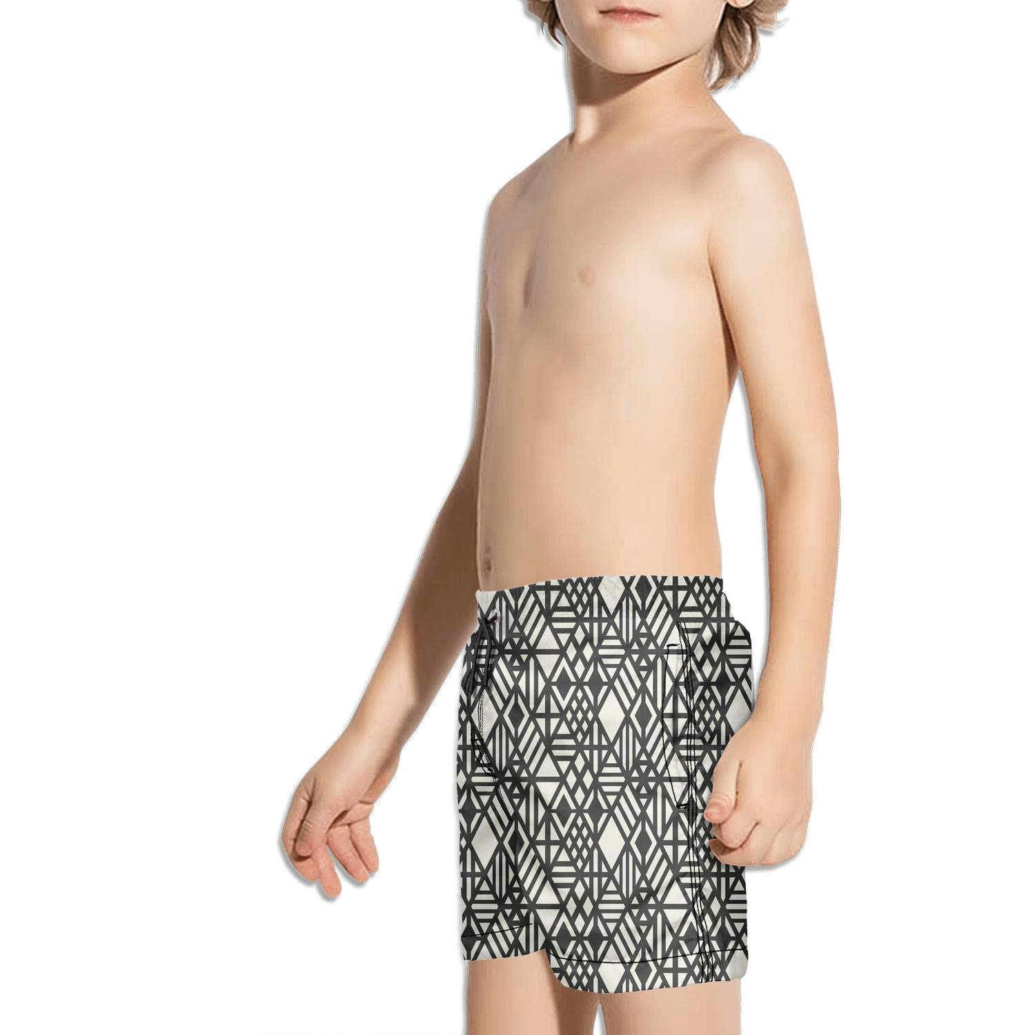 Geometric Stripe Black Fashion Swim Trunks BingGuiC Boys Quick Dry Shorts
