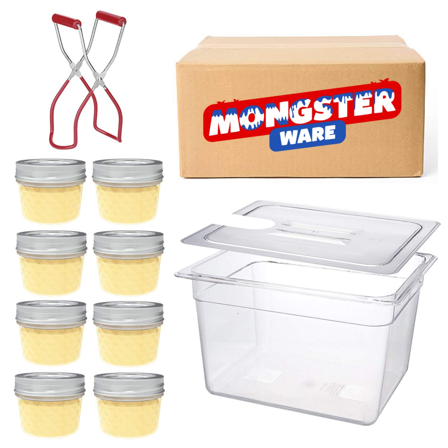 Sous Vide Egg Bites Mold Jar Kit - Anova Sous Vide Container with Lid, Small Mason Jars with Lids 4 oz and Jar Lifter for Mini 4oz Glass Canning Jars (Black Jar Lifter Handle) Mongsterware
