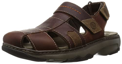 Clarks Raffe Bay - Sandali a Punta Chiusa Uomo, Marrone (Brown Leather), 44.5 EU