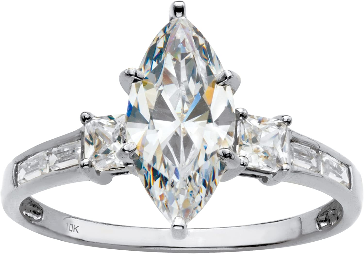 10K White Gold Marquise Cut Cubic Zirconia Engagement Ring
