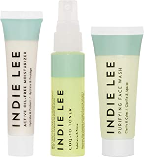 product image for Indie Lee Clarity Kit - Purifying Face Wash, CoQ-10 Toner & Active Oil-Free Moisturizer - Calm Rednessness, Draw Out Impurities + Hydrate Skin (3-Piece Travel Size Set)