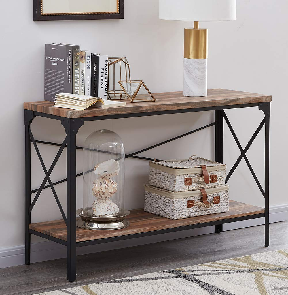 Homissue 2 Shelf Industrial Vintage Hall Sofa Table, Rectangular Console Sofa Entry Table with Lower Storage Shelf for Living Room, Hallway, Entryway, Brown Finish, 1-PC