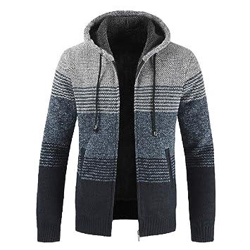 Hombres y niños invierno chaqueta Prendas de punto con capucha,Sonnena ⚽ casual chaqueta punto elástico Prendas de punto hombre moda calle elegante al aire ...