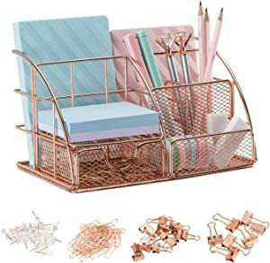 MiaCara Rose Gold Desk Organizer - Mesh Multi-Functional Desk Supplies - Desktop Stationery with Pen Holder, Pencil Holder and Paper Organizer and 1 Box of 72 Pcs Rose gold Office Accessories