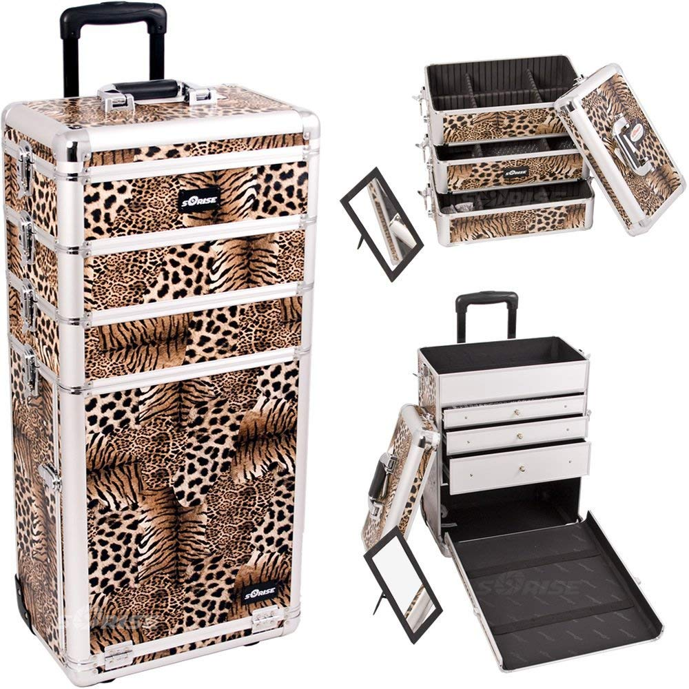 Sunrise I3363LPBR Leopard Professional Rolling Aluminum Cosmetic Makeup Craft Storage Organizer Case with Large Drawers and Stackable Trays with Dividers