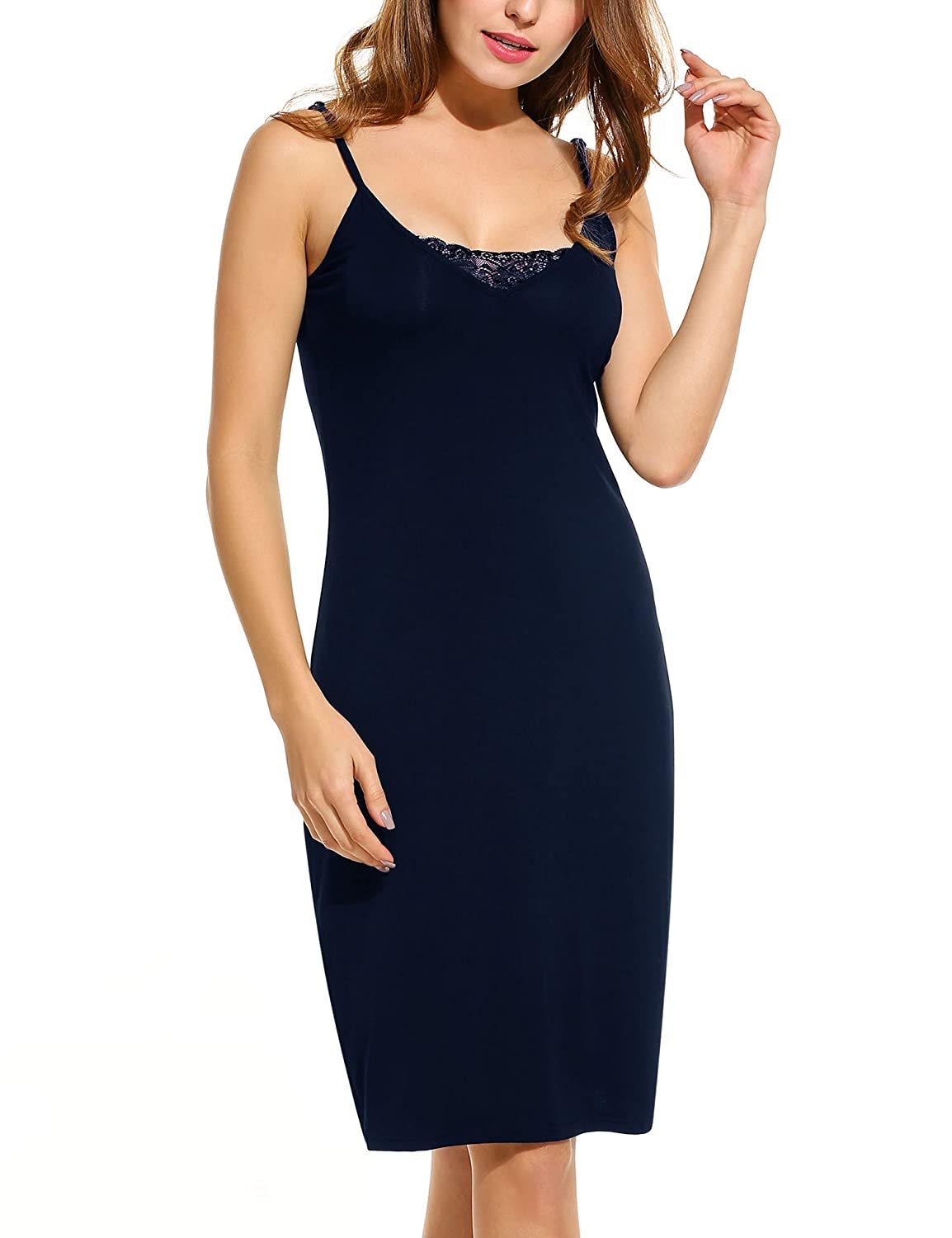 HOTOUCH Women'S Cotton Blend Spaghetti Straps Full Slips Mid-Thigh Bodycon Dress AMK005245_NB_XXL