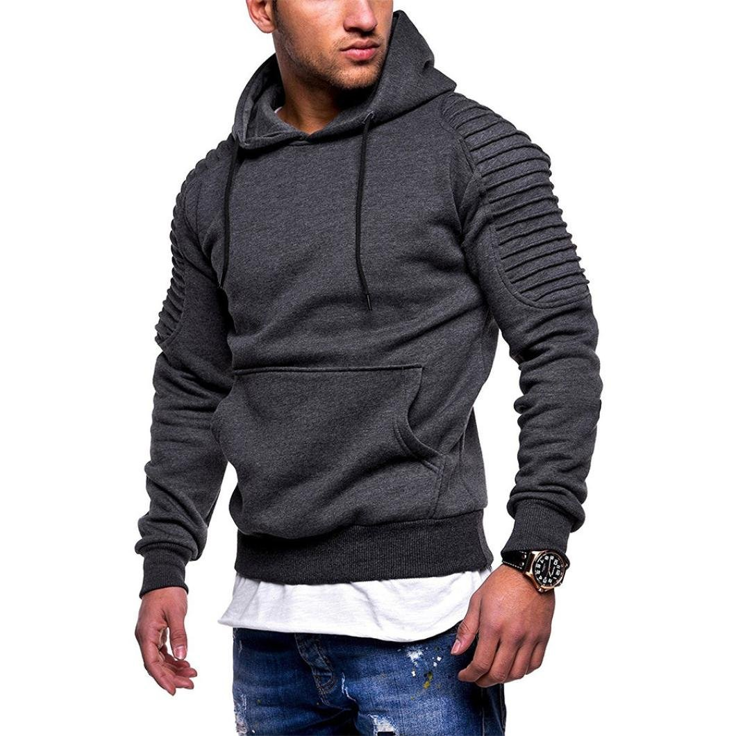 Hot Sale Mens Fashion Personality Hooded Sweatshirt - vermers Mens Casual Long Sleeve Pocket Patchwork Outwear Tops(M, Dark Gray)