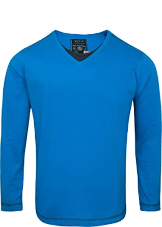 1ace970ce Zovi Royal Blue Solid V-Neck T-Shirt - Full Sleeves 106120077010M ...