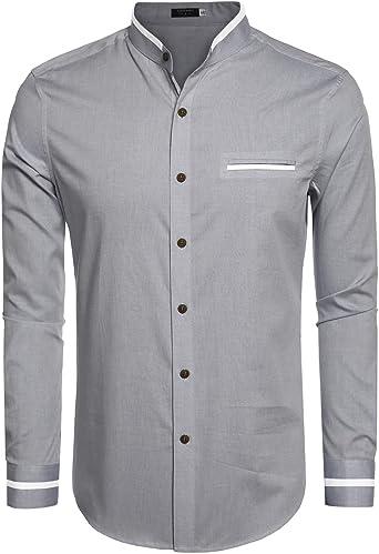 Etuoji Mens Casual Long Sleeve Stand Collar Button Down Shirt