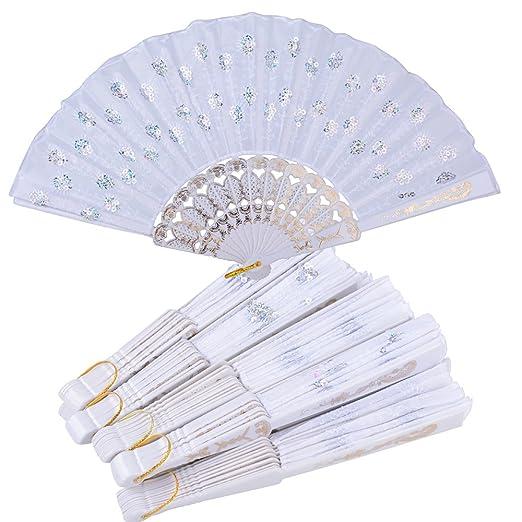 10pcs Abanicos Plegables Blancos de Plástico Tela Regalos Recuerdos Detalles para Invitados de Boda Fiesta Bautizo Cumpleaños Comunión o Baile Arte