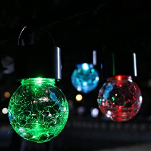 8 Pack Hanging Solar Lights Outdoor, Decorative Cracked Glass globe Solar Lanterns Multi-Color Changing Lights with handle and clip for Umbrella ,Garden Yard, Patio, Fence, Tree, or Holiday Decoration