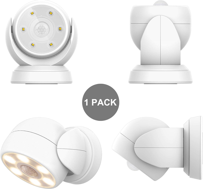 HONWELL Luz Foco LED a Pilas con Sensor de Movimiento, Exterior Impermeable Luz de Seguridad,6 LEDs, 200 Lúmenes Foco Inalámbrico LED con Movimiento Activado Sensor para Entradas,Porche,Garaje-Blanco