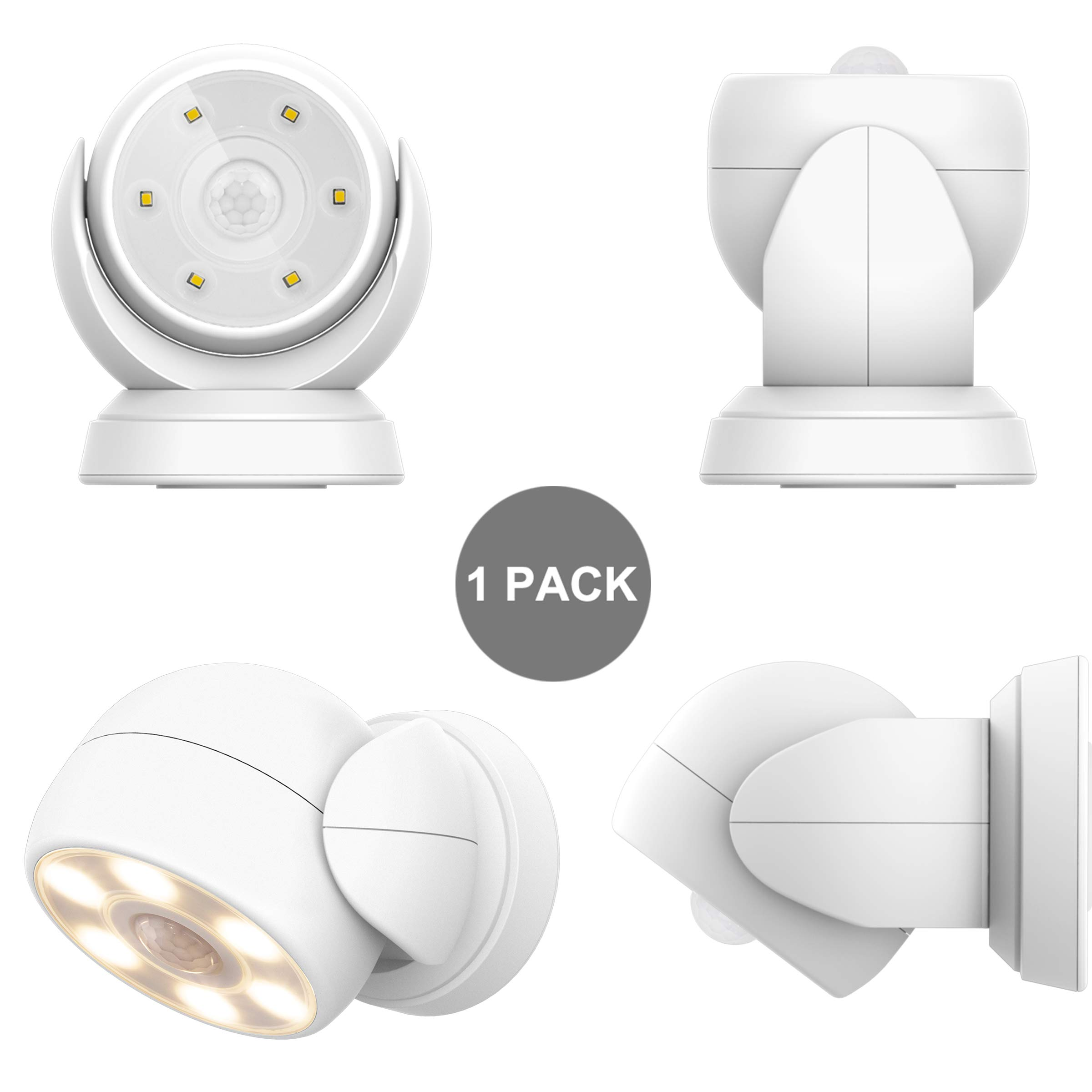 HONWELL Motion Sensor Light Outdoor Battery Operated Wireless Waterproof Spotlight Motion Security Night Light, Light Sensor Auto On Off for Porch Stair Ceiling Hallway Garage Wall Shed Patio (1Pack) by HONWELL