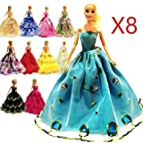 zhihu 8 Pcs Doll Handmade Fashion Wedding Party Gown Dresses & Clothes Xmas Gift