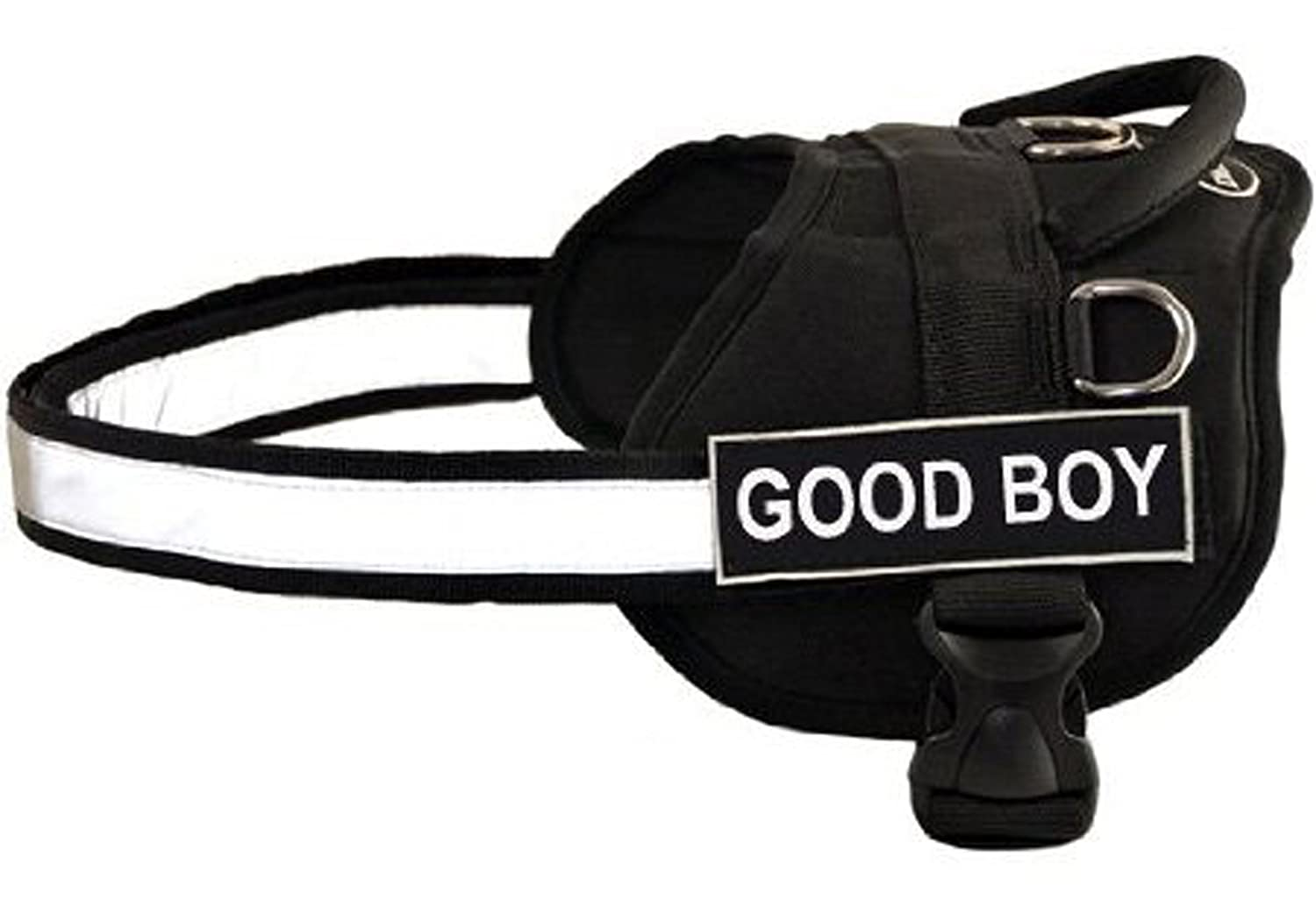 Dean & Tyler DT Works GOOD BOY Patch Harness BLK DT Works Fun Harness Good Boy, Black White, X-Small-Fits Girth Size  53cm to 66cm