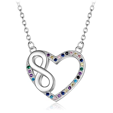 99683cdd0f6 Kalapure Sterling Silver Forever Love Infinity Heart Pendant Necklaces with Swarovski  Crystals Zirconia for Women Gifts