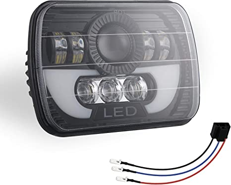 TOOGOO Phares LED 300W 5X7 Lampe Frontale Faisceau Scell/é LED avec Phare LED Faisceau Haut-Bas pour Jeep Wrangler Yj Cherokee Xj