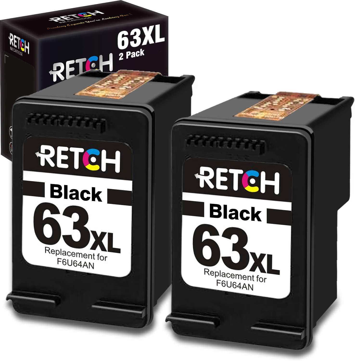RETCH ReManufactured Ink Cartridge Replacement for HP 63XL 63 XL Black, Used with Envy 4520 4516 Officejet 5255 5258 5220 3830 4650 3831 3833 4655 DeskJet 1112 3630 3632 3633 3634 Printers (2 Black)