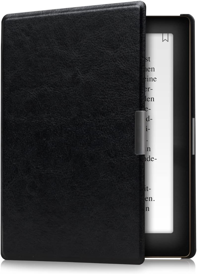 Anthracite//Black kwmobile Case for Kobo Aura Edition 1 PU Leather and Canvas Protective e-Reader Cover Folio Case