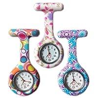 Boolavard® TM 3pcs Fleur surveillance l'infirmière de silicone Docteur Tunique paramédical Broche Medical Fob Watch-Lot de 3