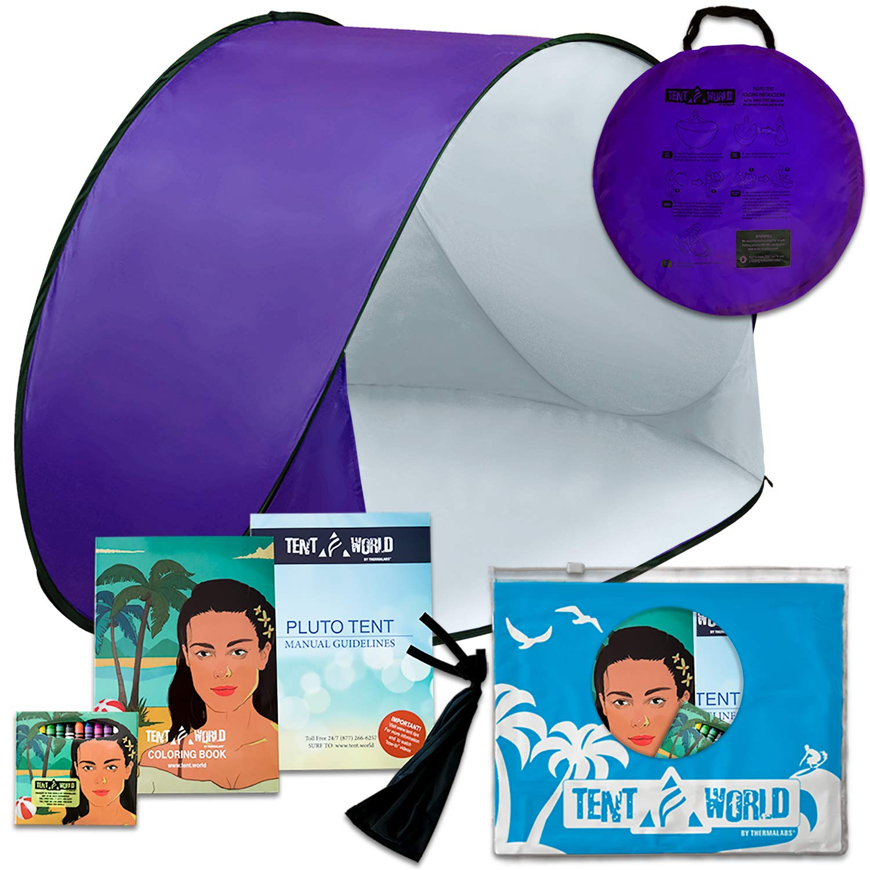 Tente de plage Pluto lilas: Un accessoire extraordinaire pour le confort de vos enfants! Une tente de luxe et légère. Un abri de la chaleur du soleil, du vent et de la pluie. Sac de transport inclus