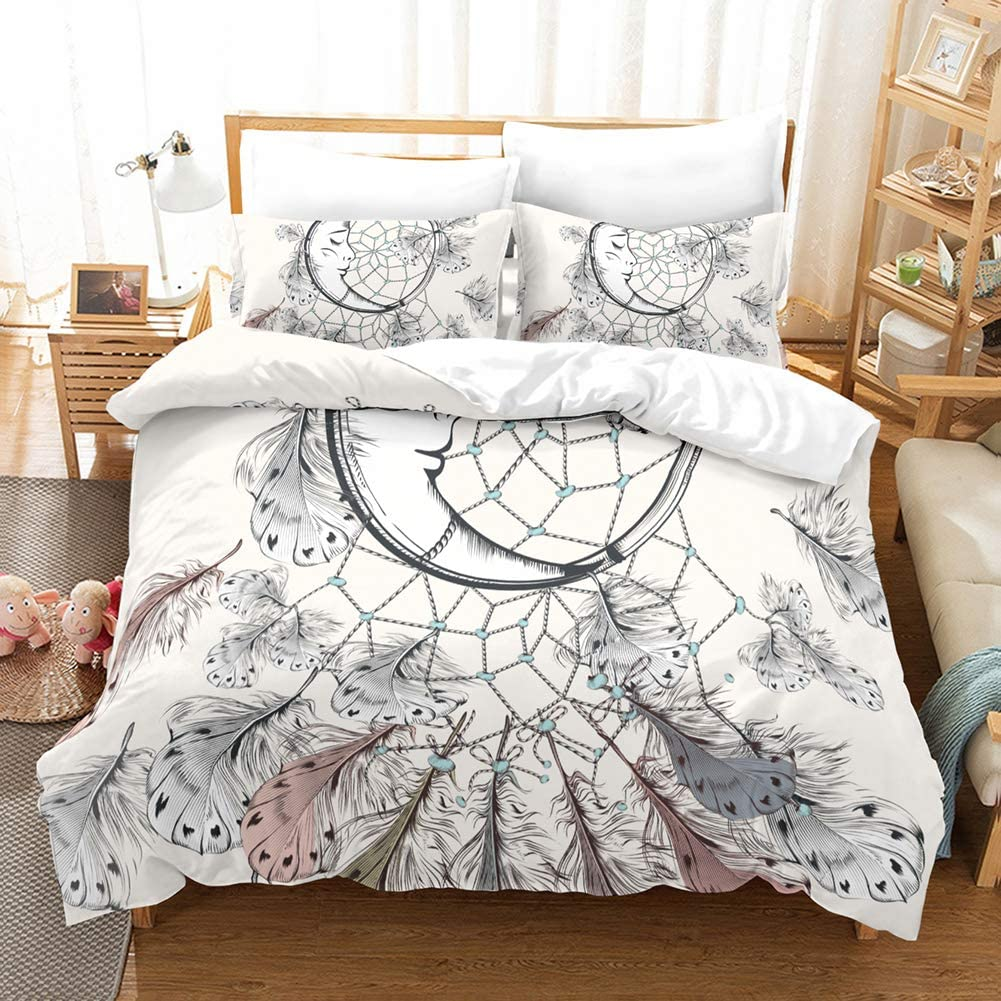 Bohemian Dream Catcher Bedding Off White Duvet Cover Set Exotic Cresent Dream Cather Design Boho Boys Girls Bedding Sets Queen (90x90) 1 Duvet Cover 2 Pillowcases (Queen, White)