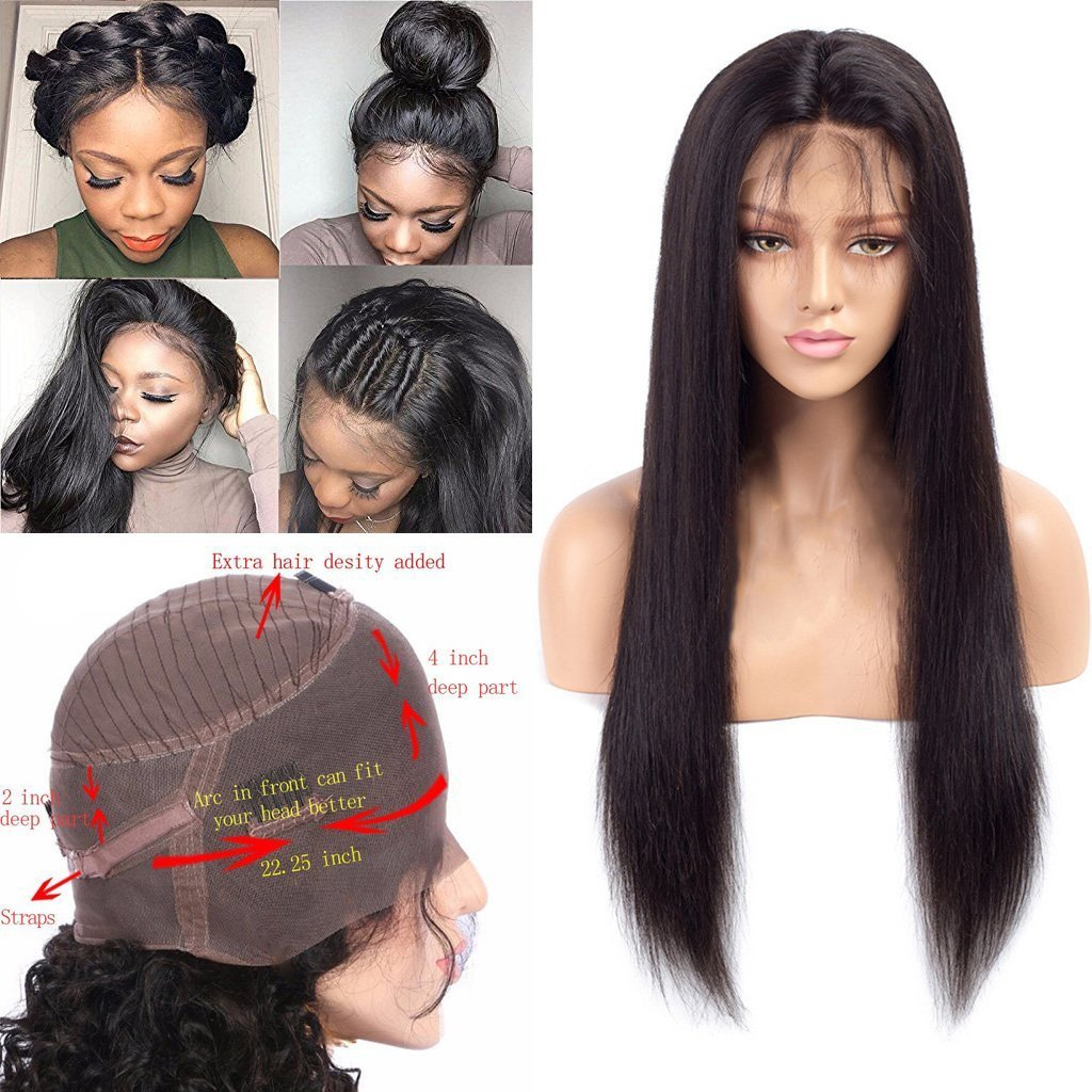 Nobel Hair 150% density 360 Lace Frontal Wigs Pre Plucked Straight Brazilian Remy Human Hair Full Frontal Lace Wigs with Baby Hair for Women Natural Color 18Inch