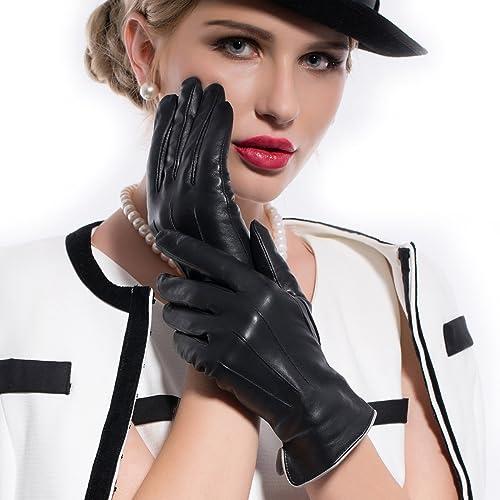 Matsu Gloves M9906 - Guanti in pelle invernali da donna, 100% foderati in calda lana cachemire, disp...