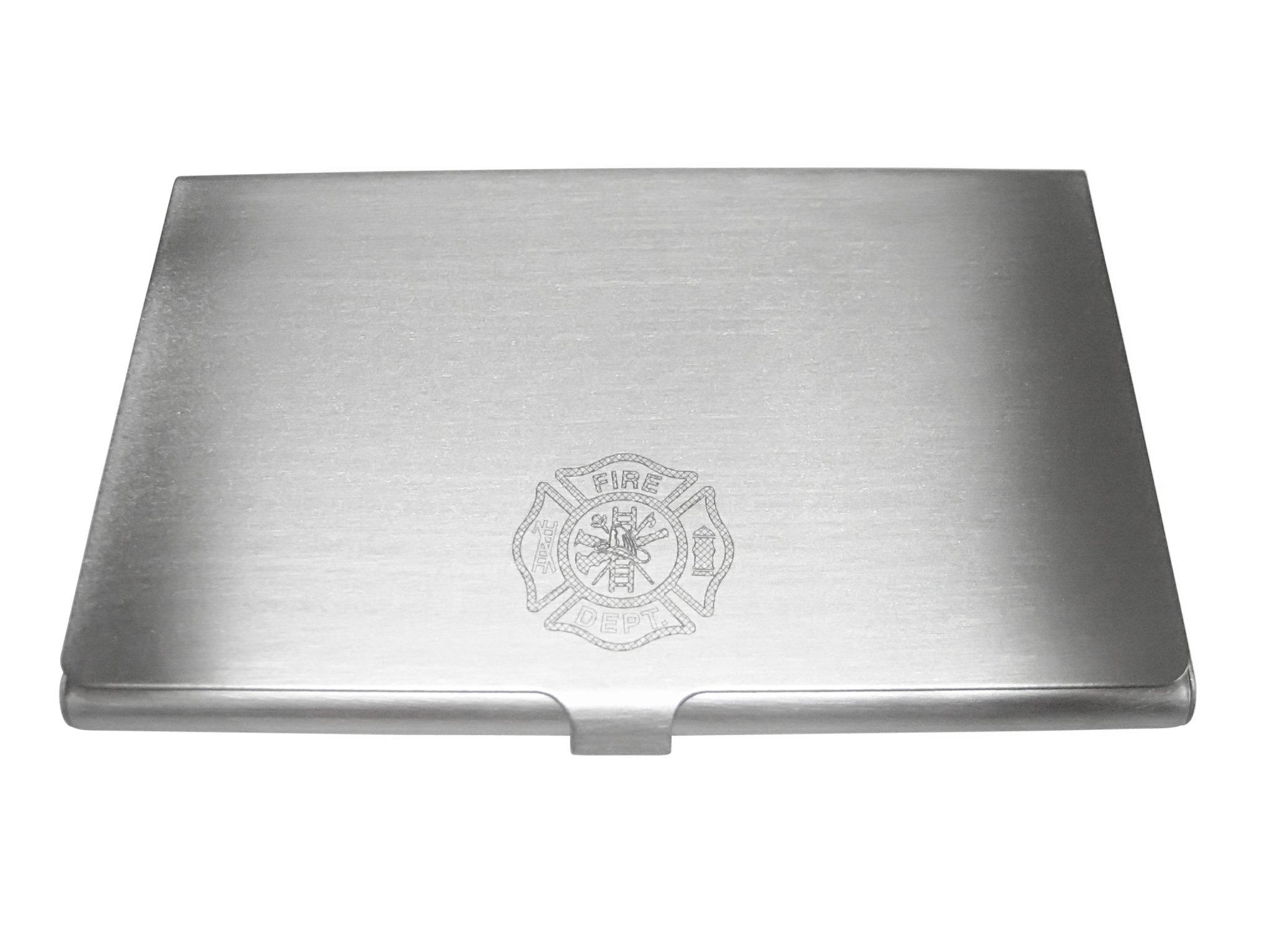 Silver Toned Etched Fire Fighter Emblem Business Card Holder