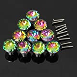 KINGSO 10pcs Colorful Crystal Glass Cupboard Wardrobe Cabinet Drawer Knob Door Pull Handle