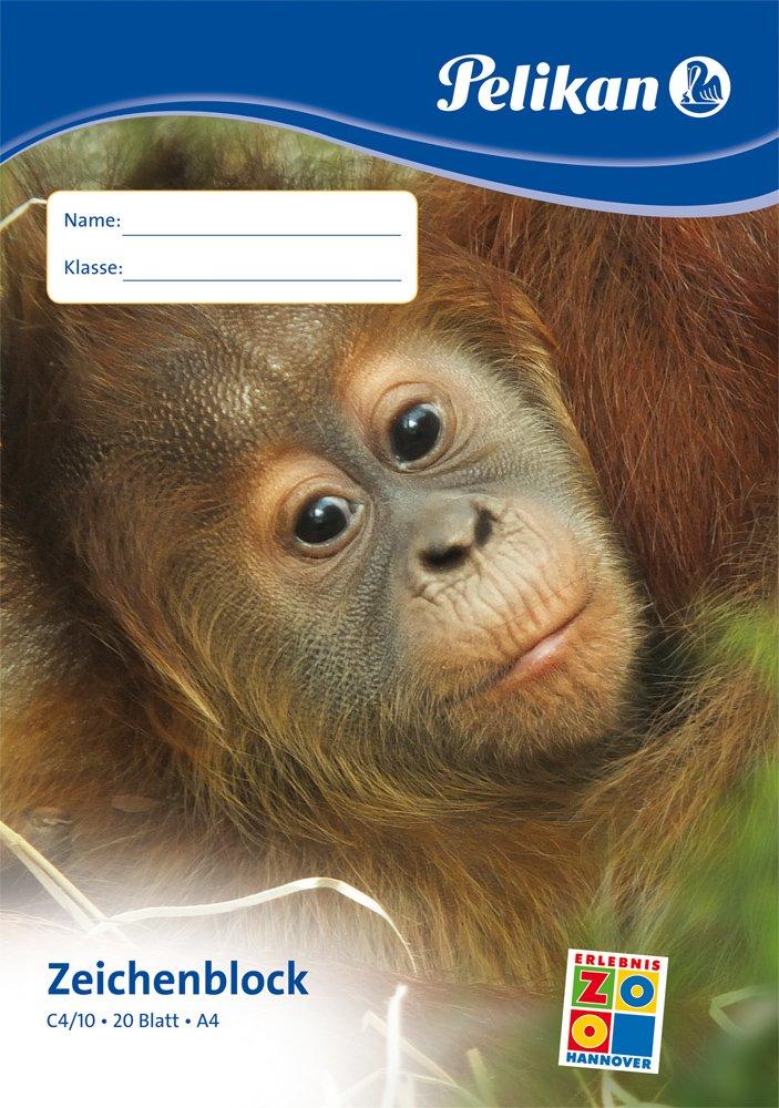 Pelikan 224824 Zeichenblock, A4, 20 Blatt, Deckblatt mit Tiermotiven (12, DIN A4 / 20 Blatt)