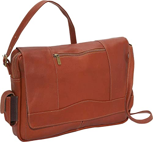 David King Leather 3 4 Flap Laptop Messenger Bag in Tan