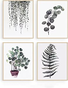 Botanical Green Canvas Wall Art - Plant Wall Decor Minimalist Tropical Leaves Paintings Pictures Boho Decoration for Living Room Bedroom Kitchen Bathroom Nature Poster Modern Artwork Unframed 8x10inch