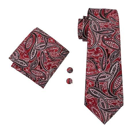 WOXHY Corbata Clásica para Hombre Corbata Floral Roja 100% Seda ...