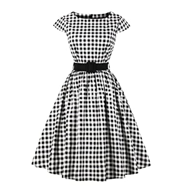 5fbfc2194bc Women s Vintage 1950s Retro Cap-Sleeve Rockabilly Prom Polka Dot Swing  Dresses S Black