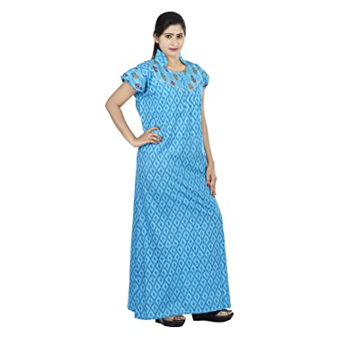aab6622887 OSF Blue Colour Geometric Design Printed Collar Neck Cotton Nighty for  Ladies Nightwear Full Length Women