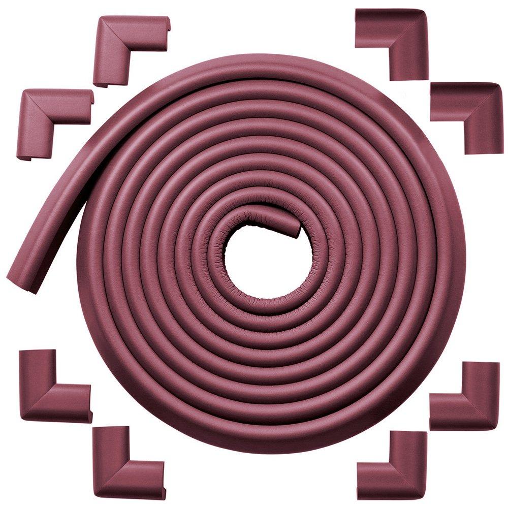 8 Corners Safe Edge y Corner Coj/ín color marr/ón rojizo; protecci/ón contra bordes y esquineros a prueba de ni/ños premium; borde para mesa y protector de esquina para beb/é WADEO 4.6M Edge