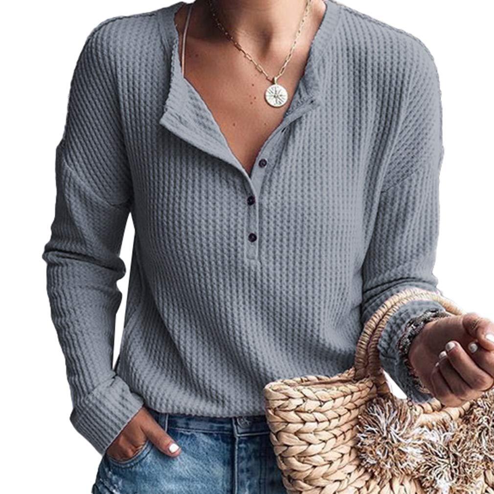 Moda Donna Plaid Bluse con Scollo A V Magliette A Maniche Lunghe Camicetta Pullover Shirt Top S-2XL