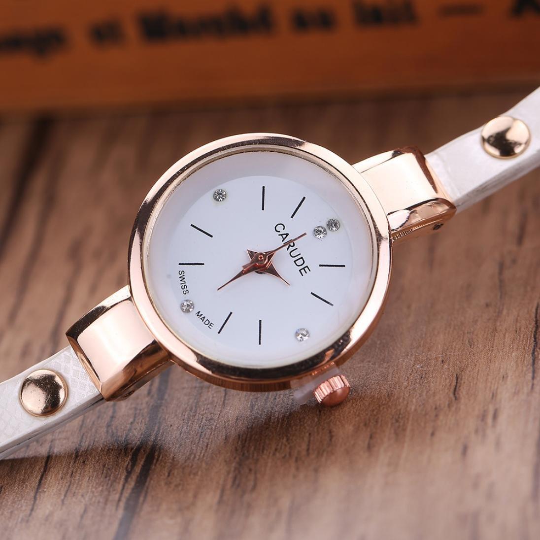 Amazon.com: LtrottedJ Women Leather Rhinestone Analog Quartz Wrist Watches (White): Health & Personal Care