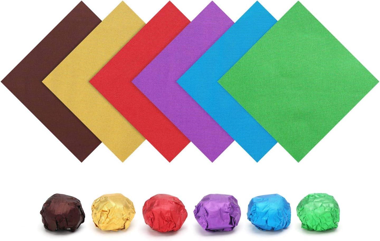 Aluminum Foil Wrappers, Eusoar 600pcs Textured Assorted Color Food Grade Aluminum Foils 6 Colors x 100pcs for Wrapping Homemade Candies Caramels Chocolate Balls Party Favors Holiday Treats
