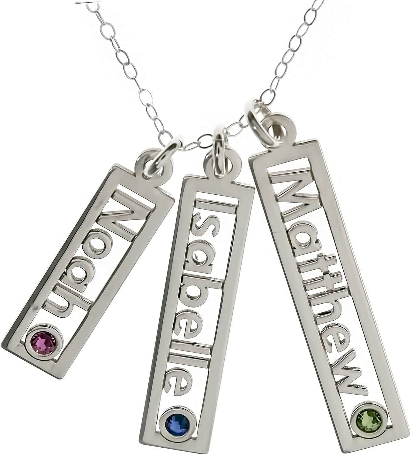 Makes Great Birthday Gift. Customize a Name Charm AJs Collection Personalized Rectangle Triple Open Name Sterling Silver Necklace with Birthstone Setting Sterling Silver Cable Chain for All