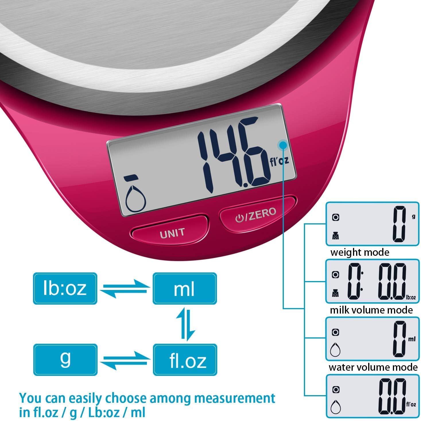 Balance Alimentaire Num/érique Plateforme Acier Inoxydable /Écran LCD CAMRY Balance de Cuisine Electronique 5kg//11lb,Haute Pr/écision,Fonction Tare Light Blue Auto-Arr/êt