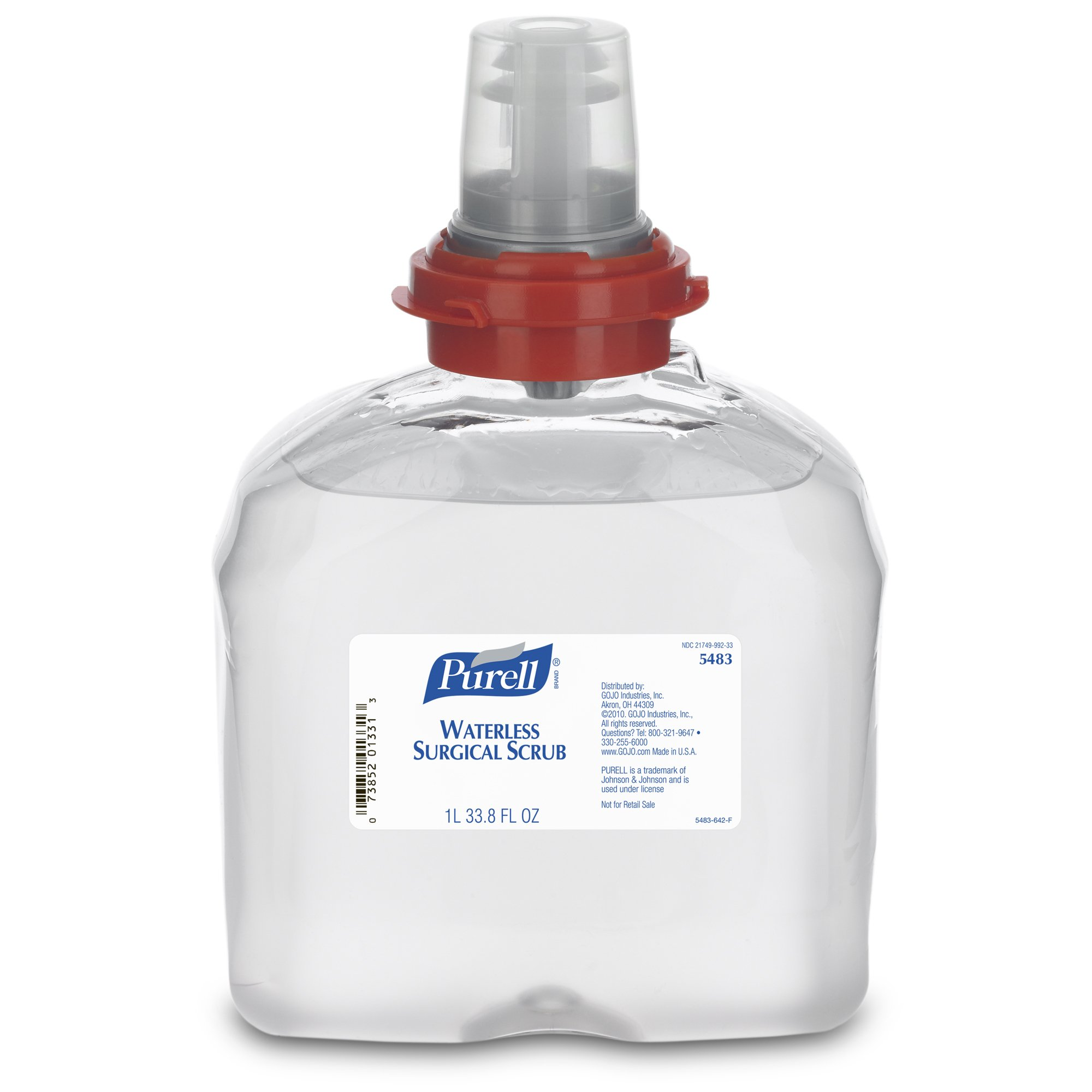 PURELL TFX Waterless Surgical Scrub, Fragrance Free, 1000 mL Scrub Refill for PURELL TFX Surgical Scrub Touch-Free Dispenser (Case of 4) - 5483-04