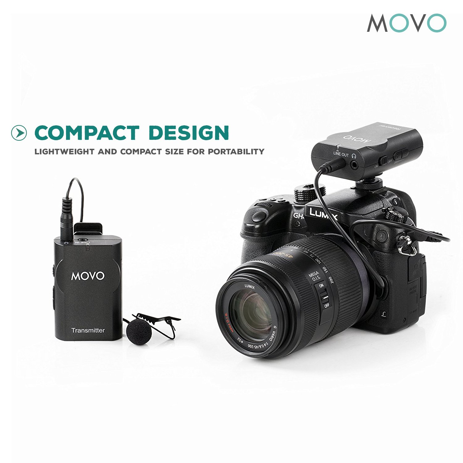 Movo WMIC10 2.4GHz Wireless Lavalier Microphone System for DSLR Cameras, iPhone/iPad/Android Smartphones, Camcorders (50-foot Transmission Range) by Movo (Image #3)
