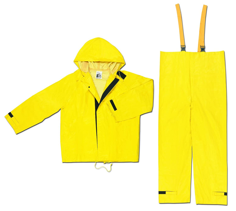 Yellow MCR Safety 3902X2 Hydroblast PVC//Nylon//Scrim 2-Piece Rainsuit with Attached Hood 2X-Large