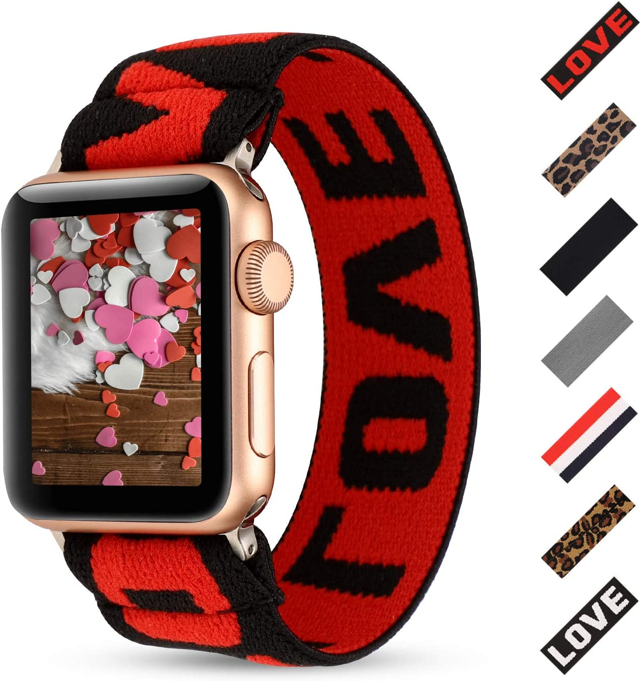 PENKEY Women Elastic Watch Band Compatible for Apple Watch 38mm 40mm 42mm 44mm,Stretchy Wristbands Replacement for IWatch Series 1 2 3 4 5 (Red Black Love, 38/40mm)