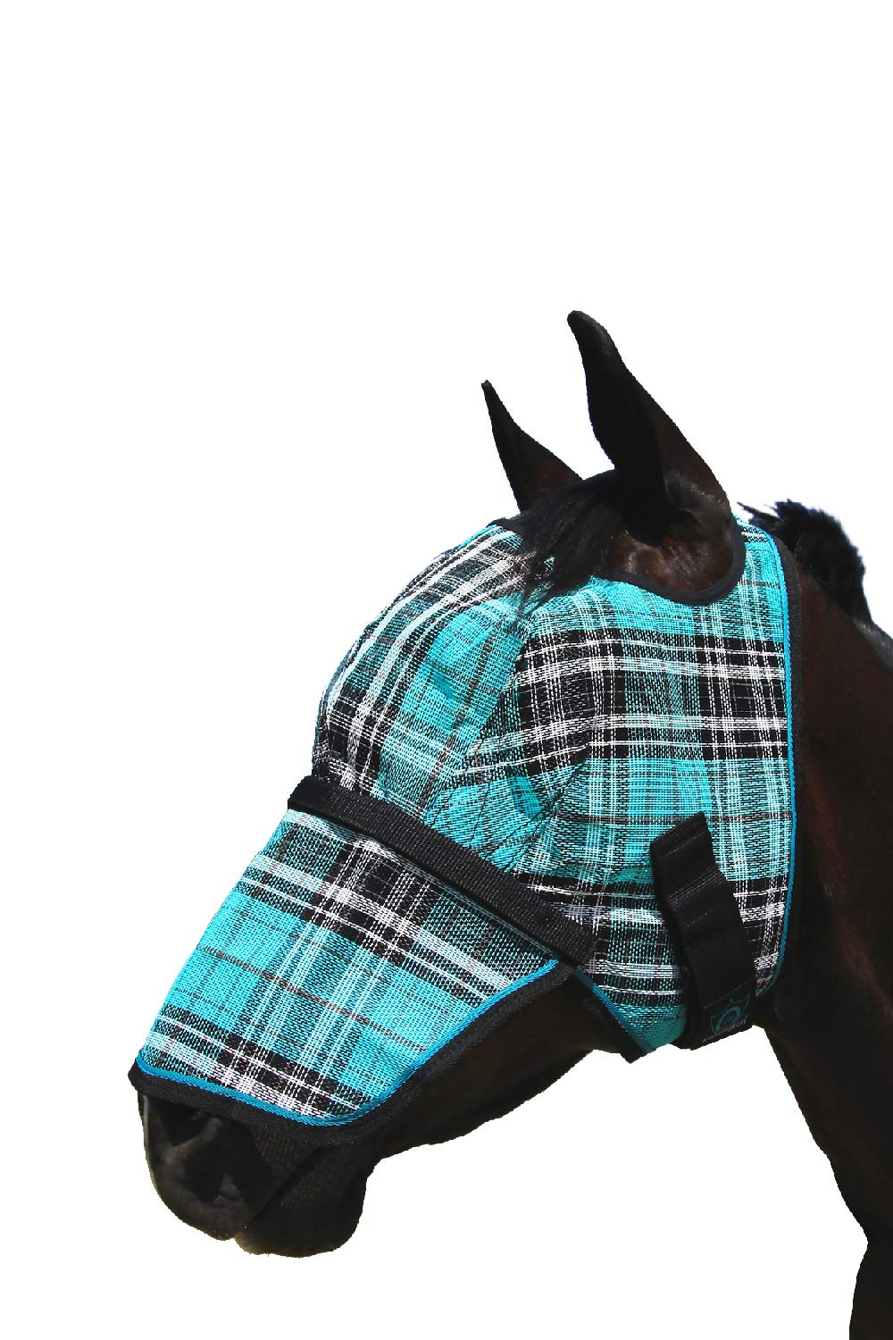 Kensington Signature Fly Mask with Removable Nose  - Protects Horses Face and Nose From Biting Insects and UV Rays While Allowing Full Visibility - Ears and Forelock Able to Come Through the Mask, Medium, Black Ice Plaid by Kensington Protective Products