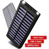 Gnceei Power Bank 24000mAh Caricabatterie Portatile Solare Powerbank, 5.8A 4 Porte USB Batteria Esterna con 3 Porte di Entrata(USB C & Micro USB) e 2 Bright LED per Nexus, HTC e Altro Smartphone