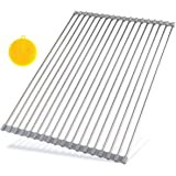 "Hhyn Roll Up Dish Drying Rack 20.5""(L) x 14""(W) - Stainless Steel and Silicone Dish Drying Mat Over the Sink Foldable Drain Rack Multipurpose Dish Drainer Extra Large, Gray"