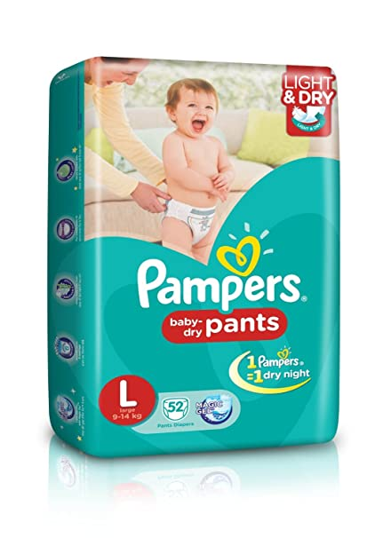 59b6099e337 Buy Pampers Large Size Diaper Pants (52 Count) Online at Low Prices in  India - Amazon.in